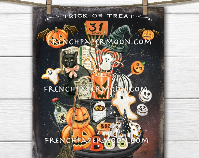 Halloween Candy, Tiered Tray, Digital, Trick or Treat, Jack-O-Lanterns, Black Cat, Witch, Decor Sign, Fabric Transfer, Halloween Crafts