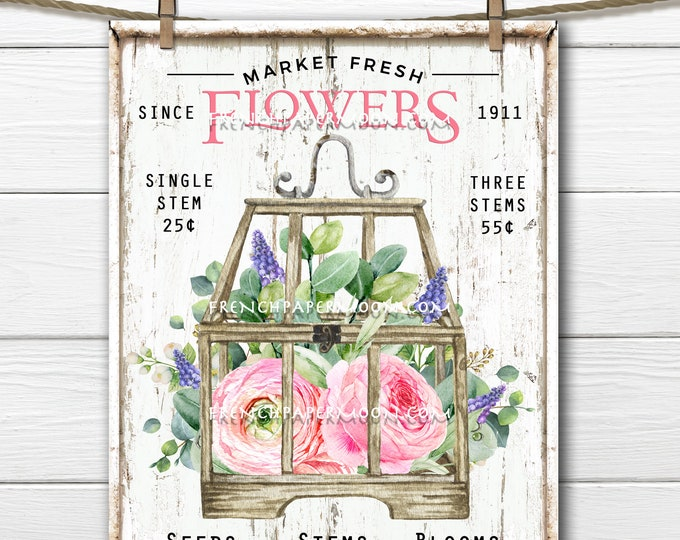 Spring Flowers, Market Fresh, DIY Flower Shop Sign, Muscari, Peonies, Pillow Image, Fabric Transfer, Wreath Decor, Wall Decor, Digital Print