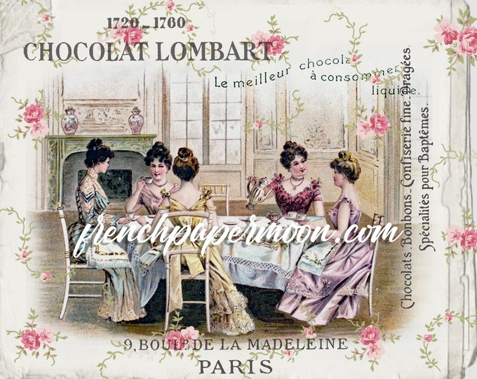 Victorian Tea Party, Vintage Ladies, Printable Holiday Party, French Chocolate, Pillow Image, Iron On Fabric, Digital Print, Crafts