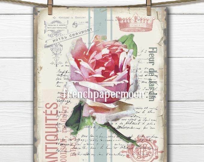 French Rose Printable, Vintage Rose, Shabby Digital Victorian Rose, Ticking Stripes, Large Size Image Transfer, Crafts, Pillow, Paper