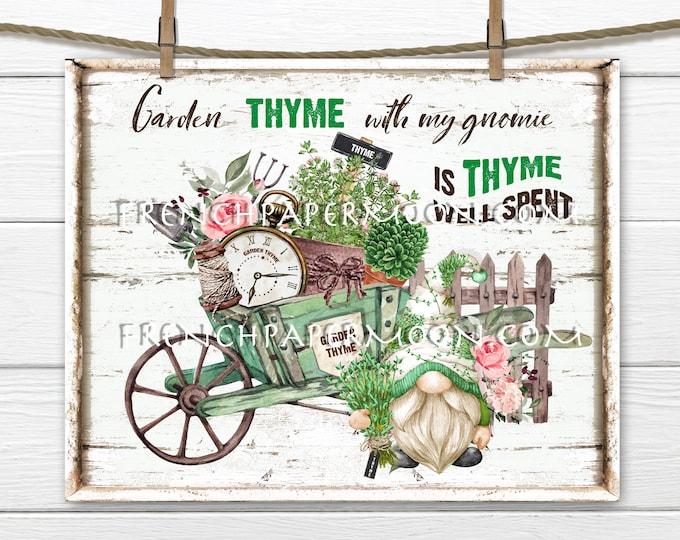 Garden Gnome, Digital, Garden Herbs, Thyme, Garden Thyme, DIY Garden Gnome Sign, Wreath Accent, Fabric Transfer, Tiered Tray, PNG, Summer