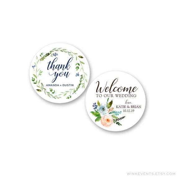 Wedding Stickers Wedding Favor Stickers Thank You Stickers Etsy