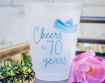 70th Birthday Cups Party Decorations Personalized Custom Frosted Plastic Supplies Favors