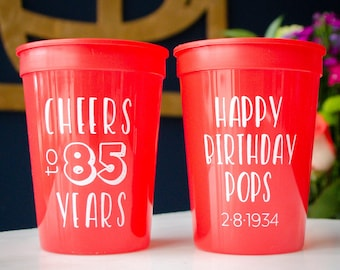 85th Birthday Party Cups Mens Favors Plastic Stadium Cup Printed Supplies 80th 50th