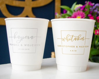Custom Wedding Paper Cups, Coffee Bar Cups, To Go Cups, Printed Paper Cups, Disposable Cups, Bridal Shower Cups, Espresso Cups, Wedding Cup