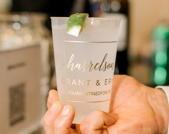 Customized Wedding Reception Bar Frosted Cups, Personalized Shatterproof Cups, Modern Wedding Decor, Signature Cocktails, Engagement Party