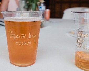 Soft Plastic Wedding Beer Cups, Custom Printed Plastic Cups, Wedding Reception, Personalized Engagement Party Disposable Cups, Cheers Beers