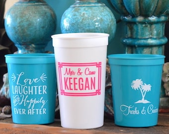 e0dc3abd419 Custom Plastic Wedding Cups, Personalized Beach Wedding Cups, Destination  Wedding, Beach Themed, Wedding Favors, Beach House Cups