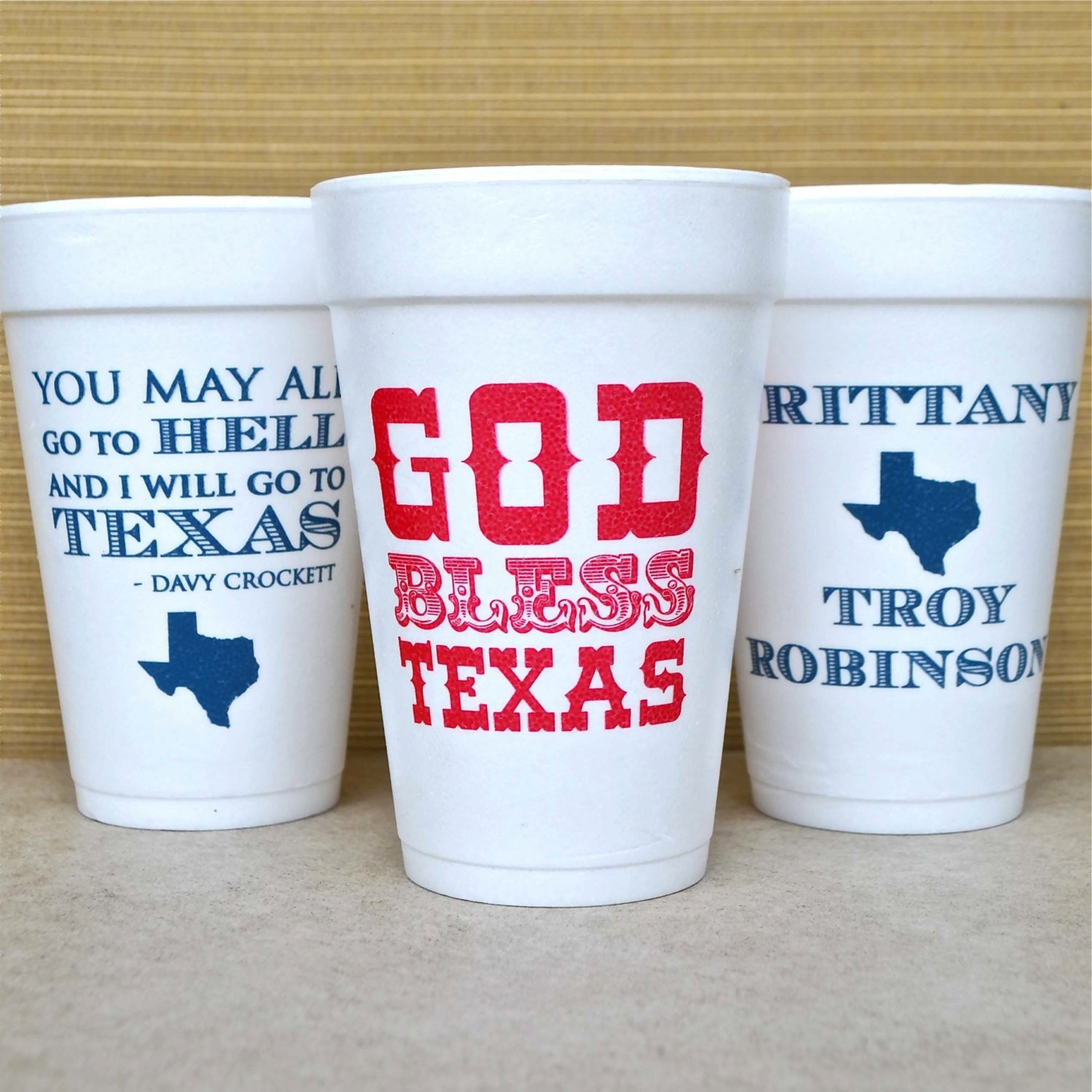 Personalized Texas Styrofoam Cups Customizable Foam Party