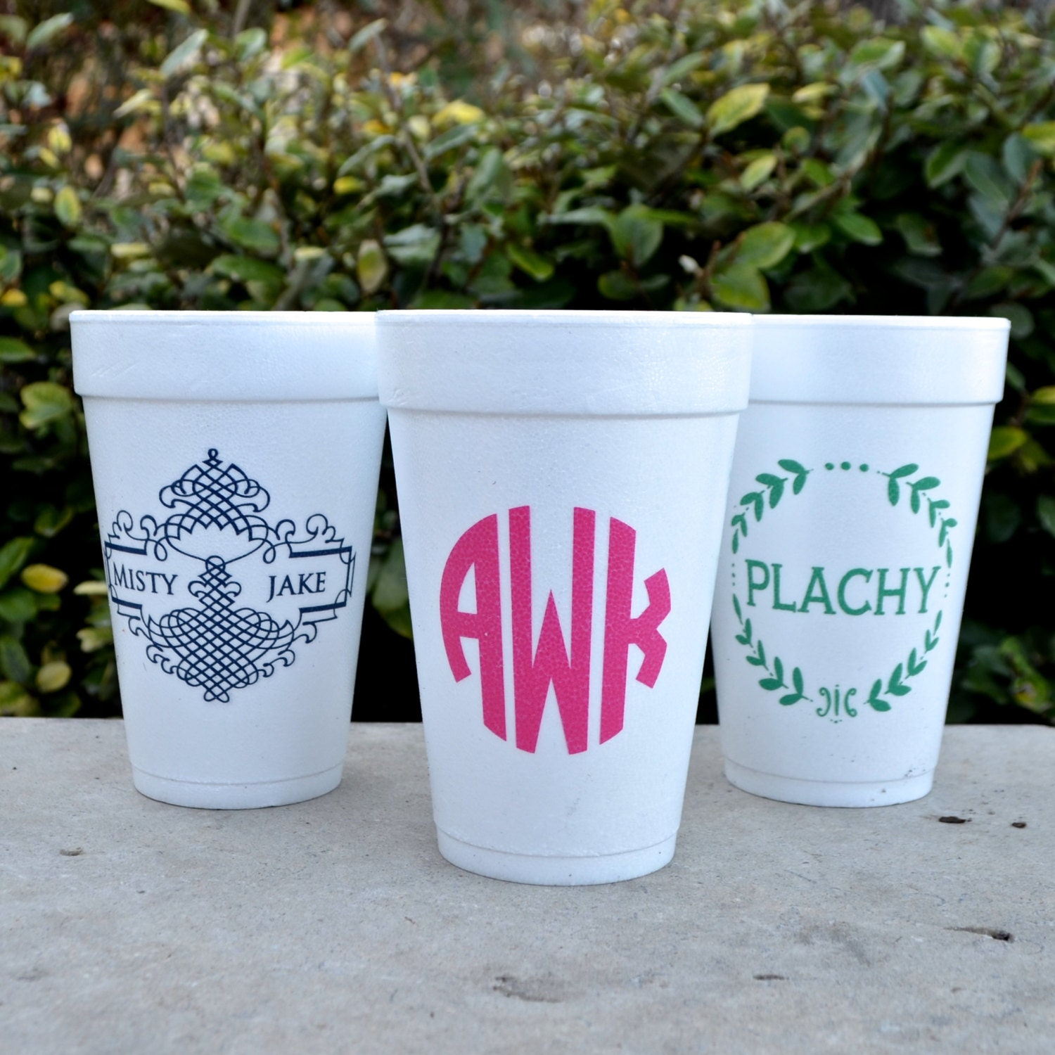 Personalized Styrofoam Party Cups Monogrammed Party Cups