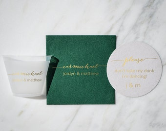 Personalized Elegant Couple's Name Linen-Like Napkin, Coaster, and Cup Party Set - Set of 50, Engagement Party, Rehearsal Dinner