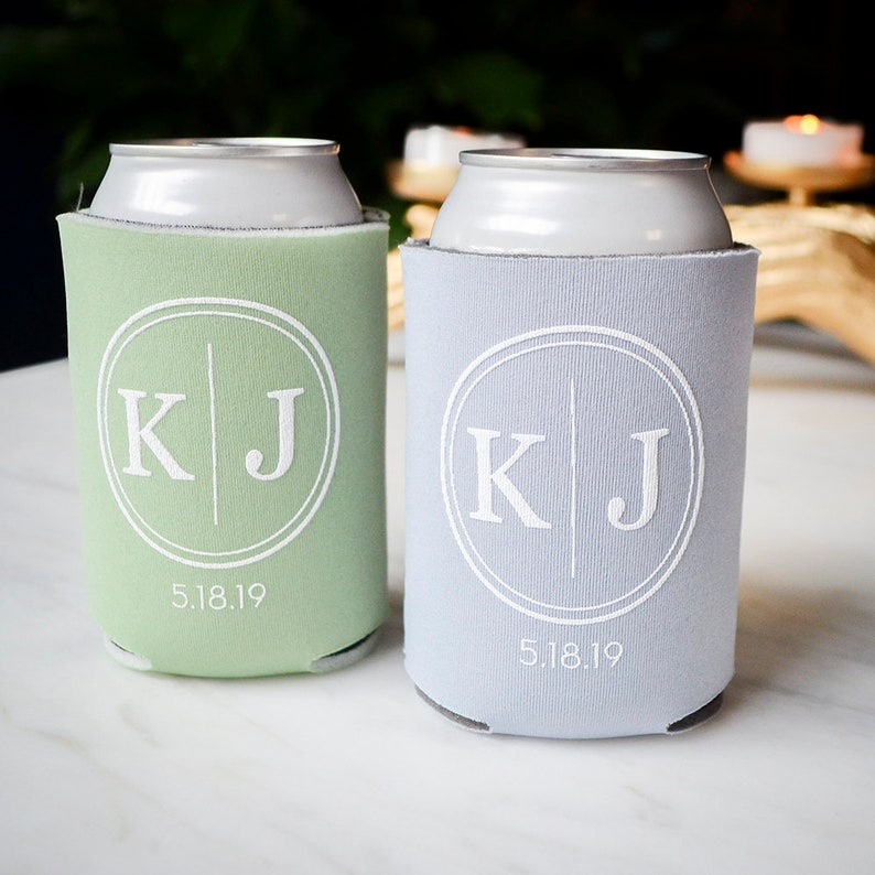 Can Insulators Gold Wedding Can Coolers Rehearsal Dinner Wedding Reception Engagement Party Bottle Hugger Monogrammed Slim Can Coolers