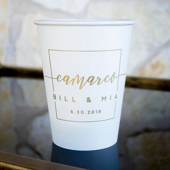 Last Name Wedding Cups Paper Coffee Cups Coffee Bar Cups To Etsy