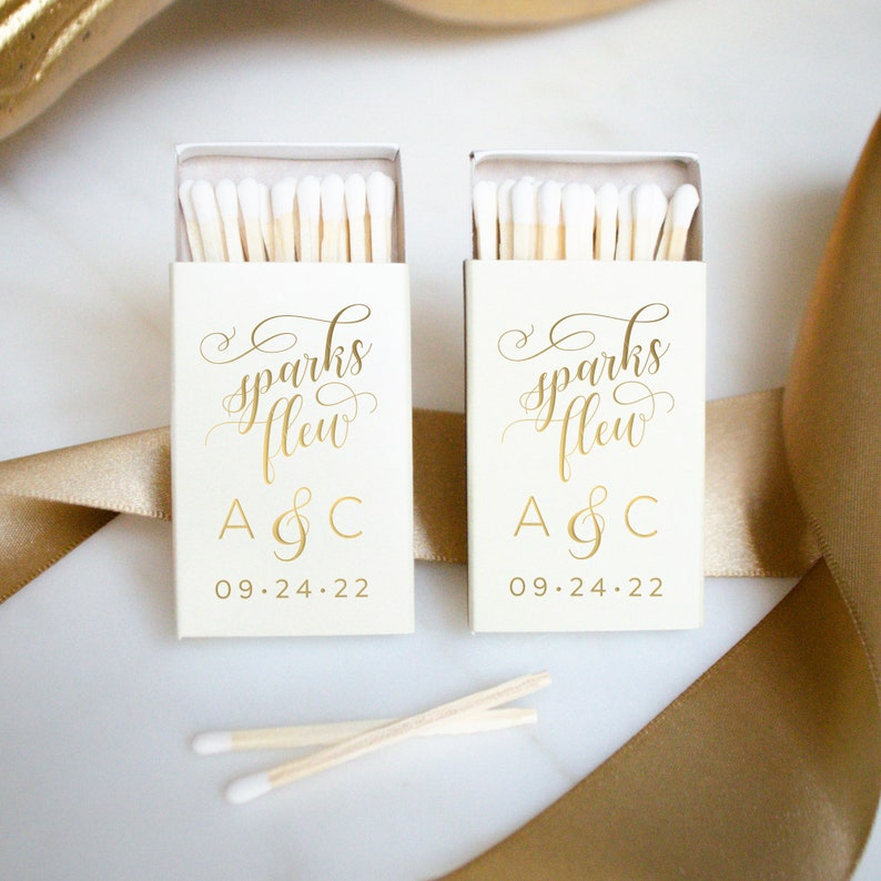 Monogrammed Wedding Matches Custom Printed Matchboxes Personalized Matches Custom Wedding Favors Custom Party Favors Foil Print Matches