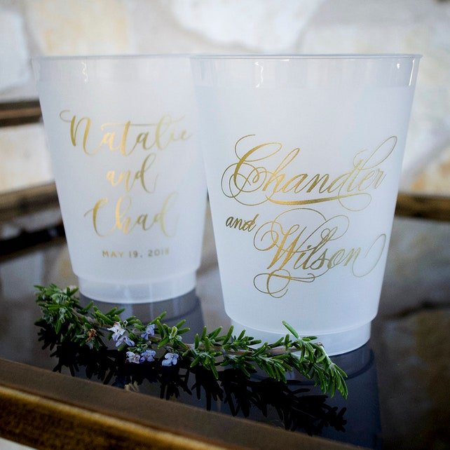 Gold Wedding Reception Cups Frosted Plastic Cups Cocktail Hour