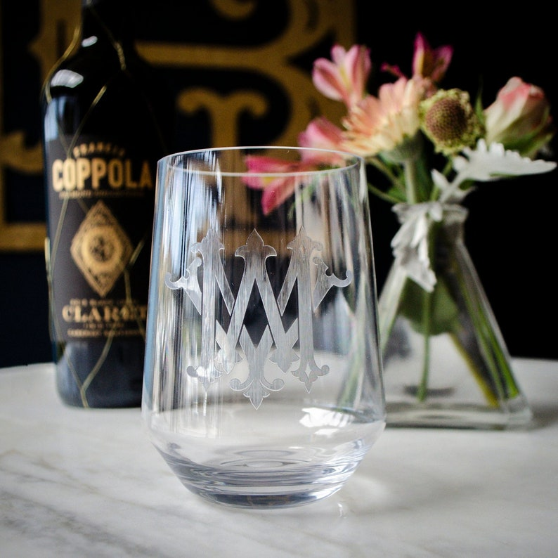 40d66b9d237 Personalized Clarus Stemless Wine Glasses, Monogrammed Acrylic Wine  Glasses, Personalized Bridal Party Gifts, Non-Breakable Glasses, Etched
