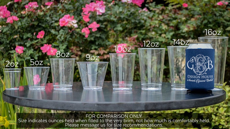 Wreath Monogram Hard Plastic Cups Custom Monogram Cups Engagement Party Cups Two-Initial Monogram Plastic Wedding Cups Customized Cups
