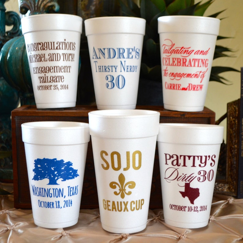 Birthday Party Cups Set of 100 Printed Party Favors Personalized Birthday Styrofoam Cups Party Decor Custom Printed Foam Party Cups