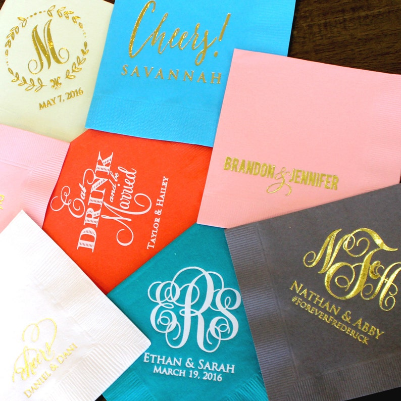 Custom Special Event Napkins Monogram Napkins for Parties and Events Printed Party Napkins Personalized Wedding Napkins