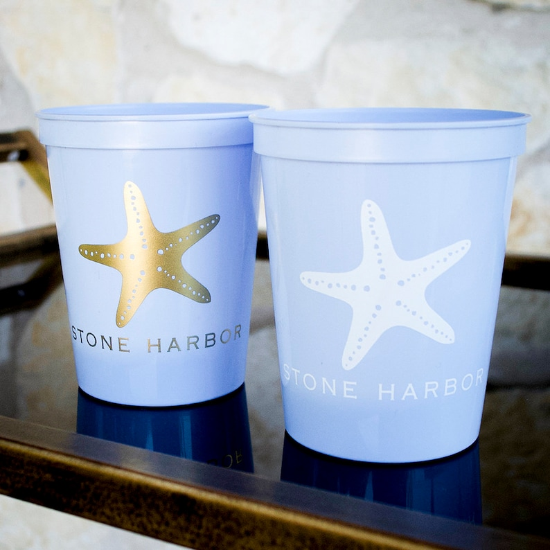 fa9ca354cde Custom Starfish Cups Plastic Party Cups Beach House Cups image 0 ...