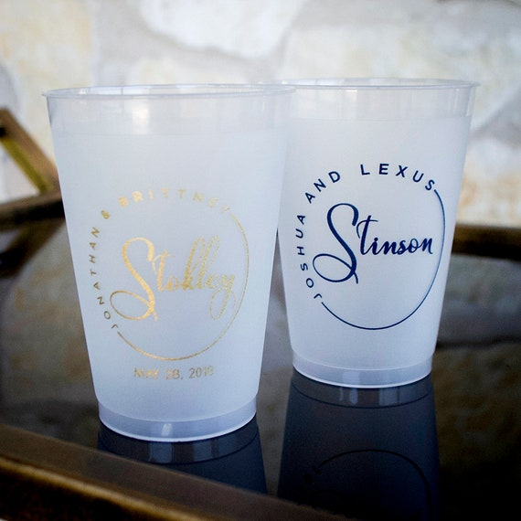 Custom Engagement Party Wedding Cups, Personalized Cups, Printed Plastic Shatterproof Cups, Bridal Shower, Party Decor, Cocktail Hour Cups