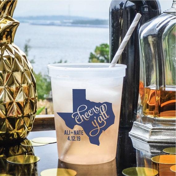 Custom Wedding Favor 16 oz Cheers Y/'all State Stadium Cups