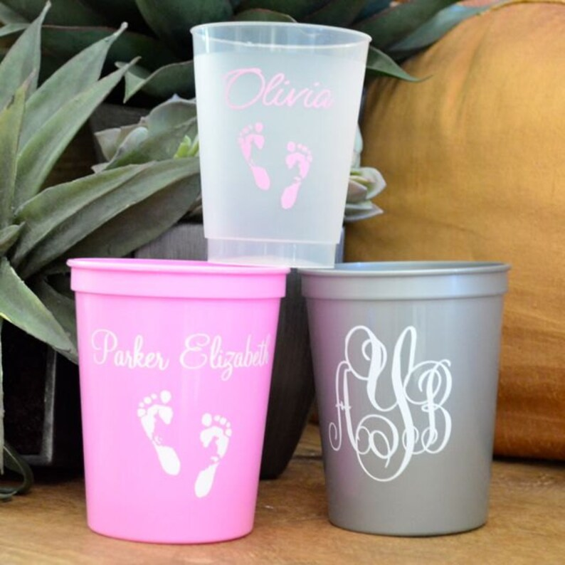89f816d8e7a Personalized Baby Shower Stadium Cups Custom Gender Reveal   Etsy