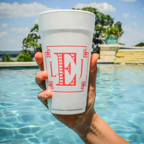 Beach Party Personalized Foam Party Cups Birthday Cups Monogrammed Party Cups Pool Party Custom Styrofoam Wedding Cups Set of 400