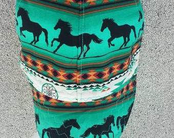 Horses on Turquoise Welding Cap Reversable You pick size.