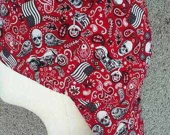 Red Paisley Wheels & Skulls Welding Cap