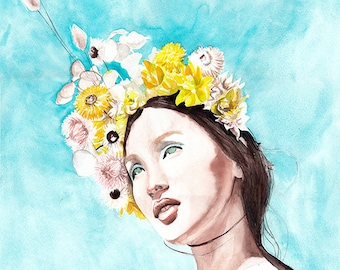 Original Watercolor Painting Young Lady Spring Flower Etsy