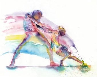 Original Watercolor Painting - Portrait of dancers. Couple portrait. The Way That I Feel