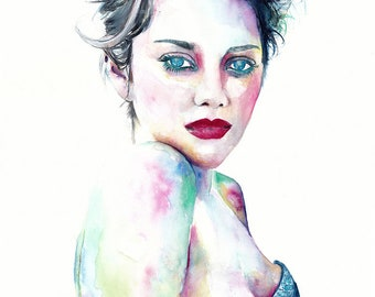 Original Watercolor Painting. Portrait of a beautiful woman. Marion Cotillard, Home Décor, Wall Décor, Wall Hangings, Paintings