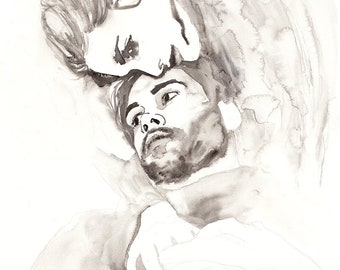 Couple Portrait. Original Watercolor Painting.  Man and woman. Hug, love, romantic, art, illustration, home decor, gift, wall art.