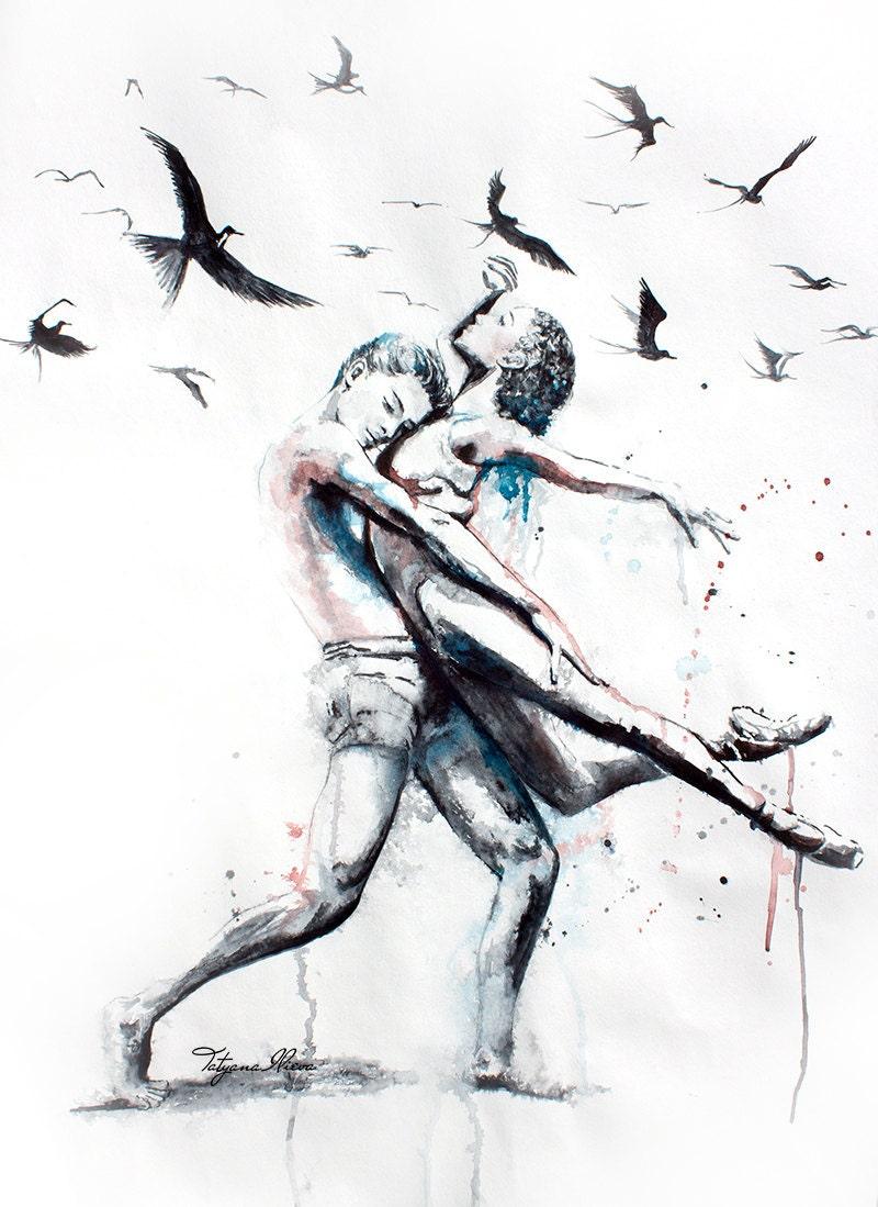 Original Aquarell. Wandkunst Tanzpaar. Lassen Sie sie tun. | Etsy
