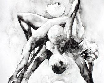 Couple portrait. Watercolor art print. Wall art, wall decor, digital print. Illustration, Art Print. Portrait of ballet dancers. Full moon.