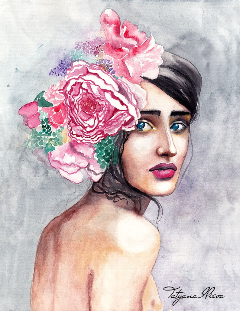 Original Watercolor Painting  Young lady  Spring flower  Portrait of young  woman  Flower, Art, Fashion, Contemporary, Woman, Flowers, Art