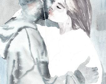 Couple Portrait. Original Watercolor Painting.  Man and woman. Кiss,Hug, love, romantic, art, illustration, home decor, gift, wall art.