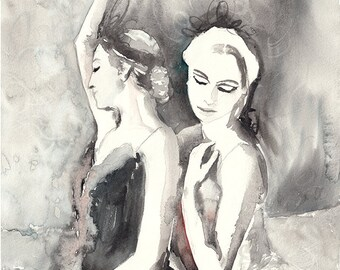 Original Watercolor Painting. Ballet Dancers Poster.Dancing womens. Ballerinas art print. Ballet dancers. Woman. Art. Wall Decor.Home Decor.