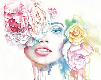 Original Watercolor Painting. Portrait of a beautiful woman. Colorful, Flowers, Home Décor, Wall Décor, Wall Hangings, Paintings
