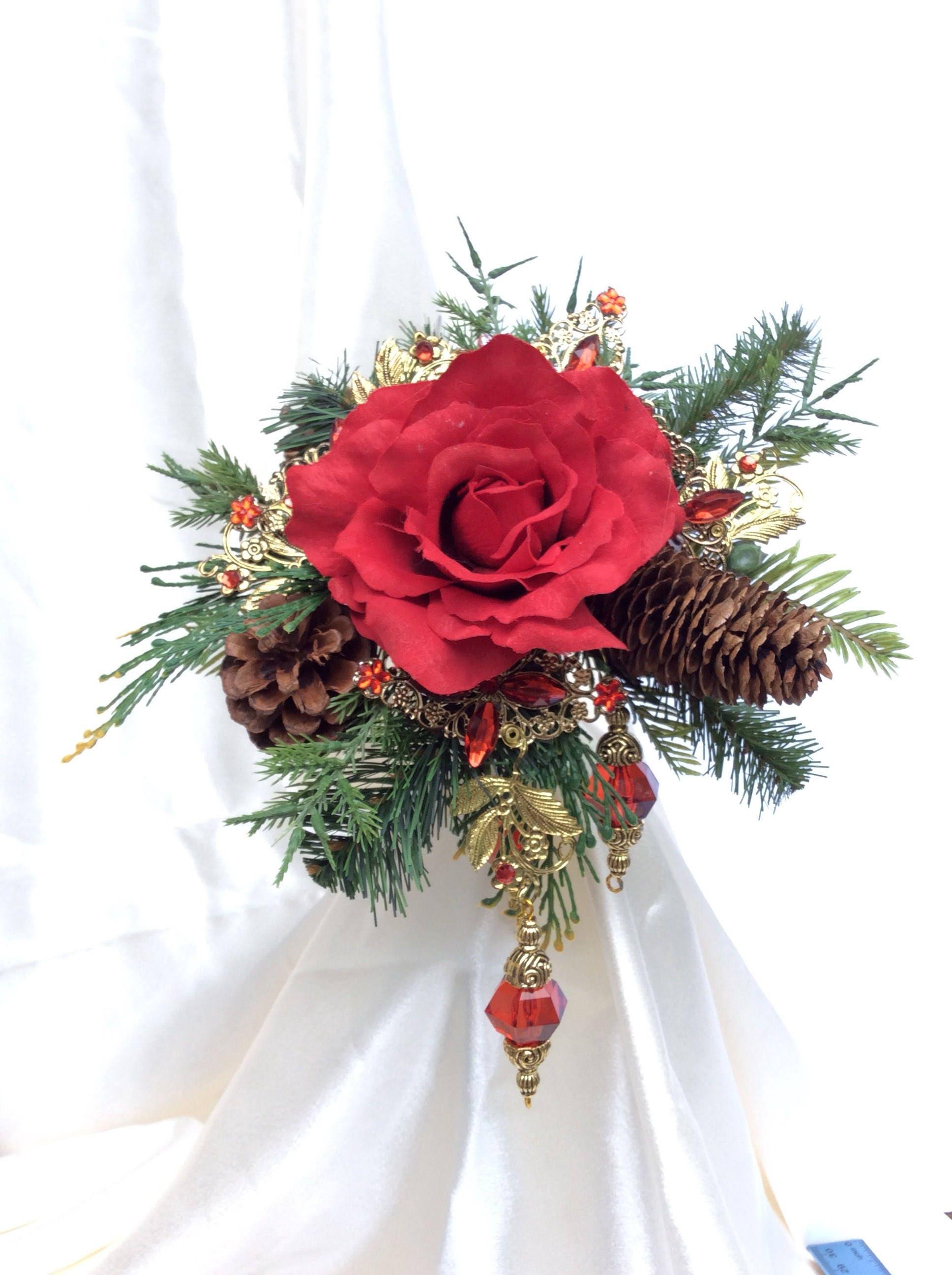 rote rose Winter-Blumenstrauß Weihnachten Hochzeit Bouquet | Etsy