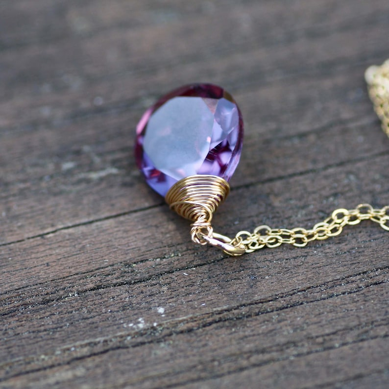 Bridal Color Change Alexandrite Pendant 14K Gold Filled Wire Wrapped Briolette Canada June Birthstone Wedding Ready to Ship