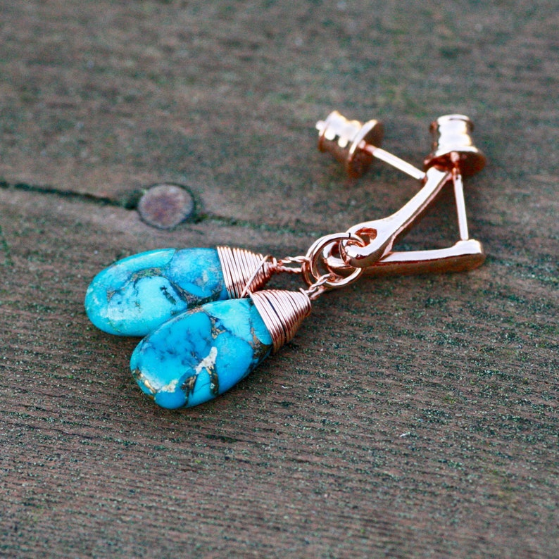 11th Anniversary Copper Infused Natural Turquoise Wire Wrapped Earrings 14K Rose Gold Filled December Birthstone Healing Gem