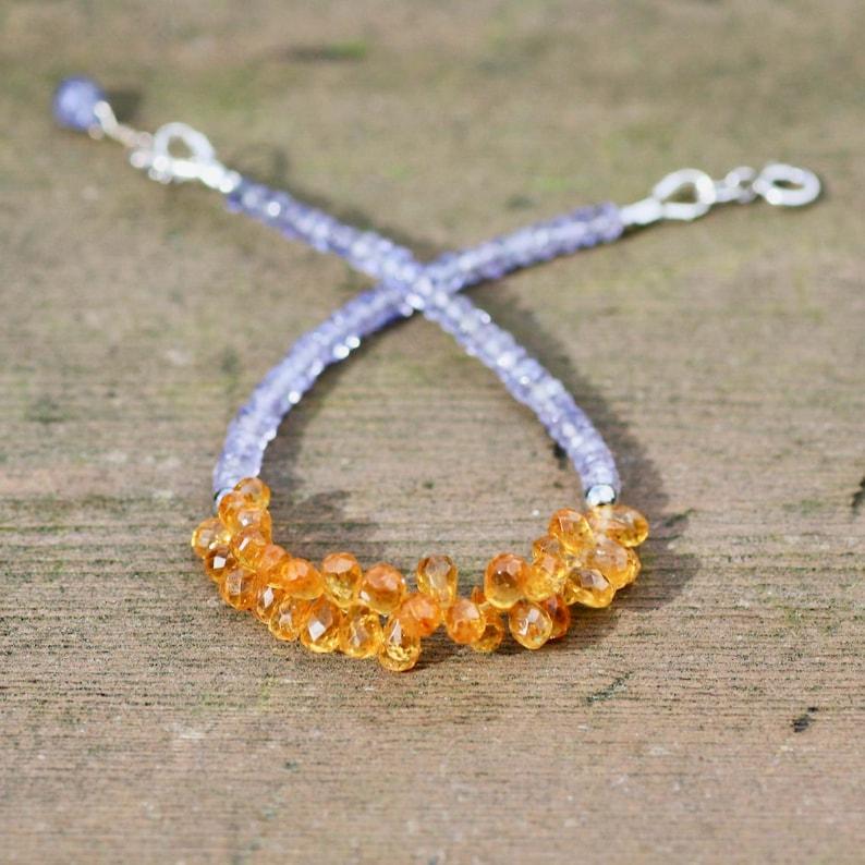 Anniversary Gift Natural  Mandarin Garnet and Tanzanite Bracelet Solid 14k White Gold January December Birthstones