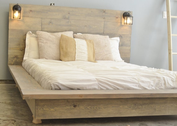 new arrival 11a79 9253a Floating Wood Platform Bed frame with Lighted Headboard-Quilmes