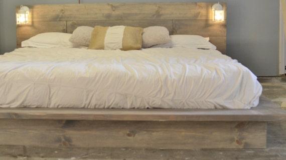 Wood Platform Bed Frame with White Lighted Headboard-Salta | Etsy
