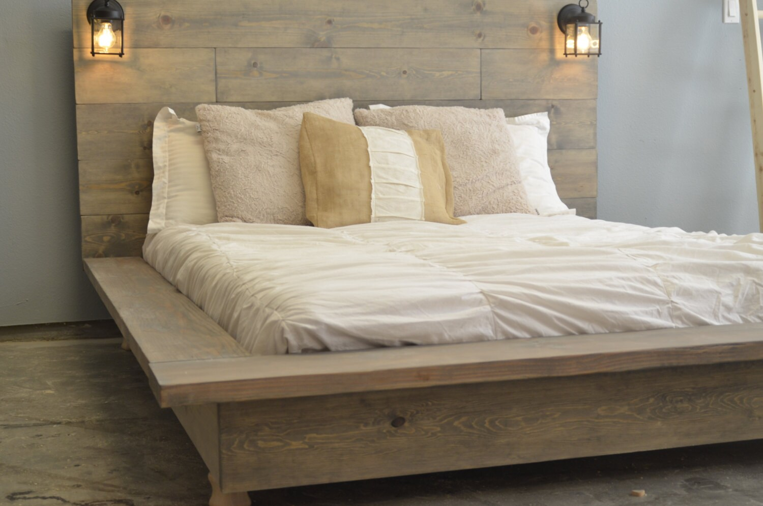 Floating Wood Platform Bed Frame With Lighted Etsy