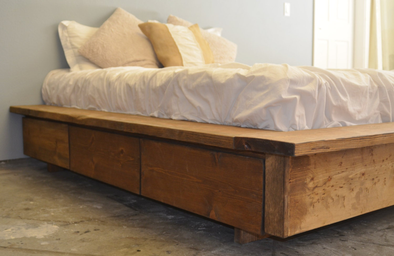 Platform Bed With Drawer Storage La Plata Etsy