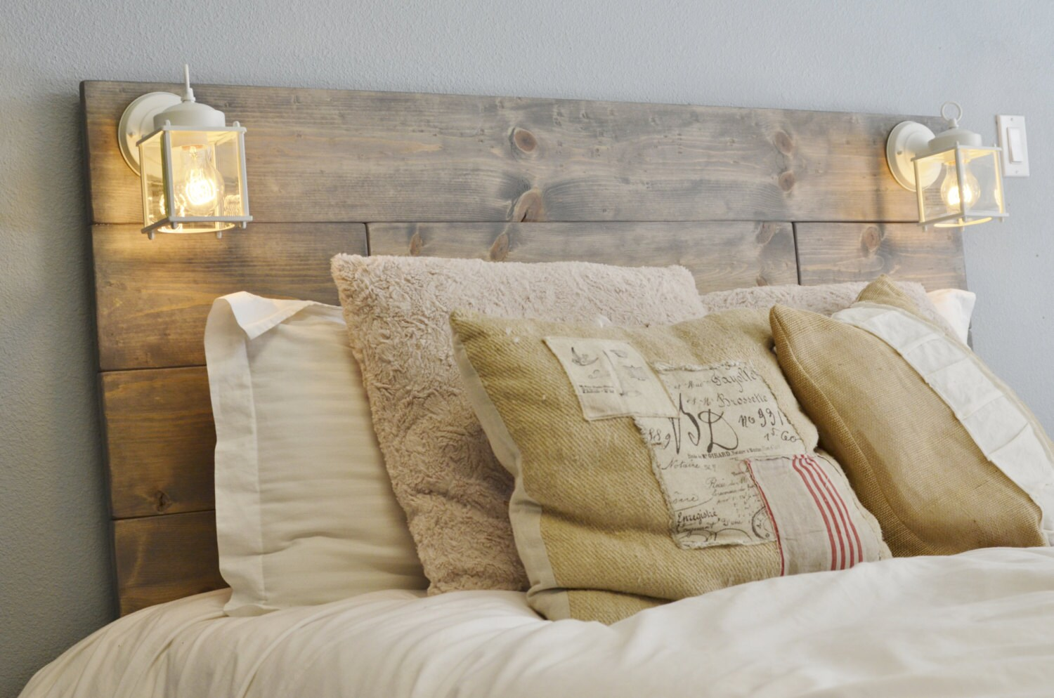 Wood Headboard With White Built In Lighting Cordoba Etsy