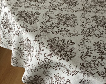 Quick View. Round Tablecloth Oval Tablecloth Brown Cotton ...